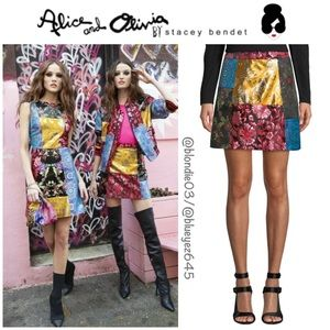 "Alice + Olivia ""Riley"" patchwork mini skirt 0"